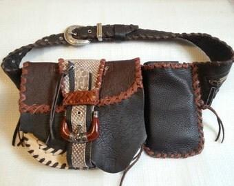Hip-belt-pocket leather diversly brown tones