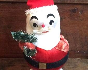 Vintage Antique Retro Estate Satin Christmas Ball Santa Claus Decoration Made in Japan