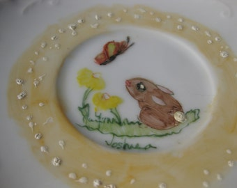 Vintage Hand Painted Bunny Plate