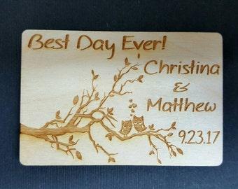 Wedding Favor Magnets, Owl Magnets, Save the Date Magnets, Bride, Groom,