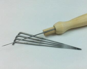Felting Needle Holder with five felting needles