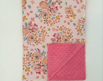 Minky Blanket - Swifting Flora with Pink Minky