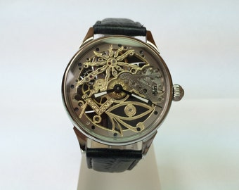 Hand engraved watch. Masonic skeleton. Mechanikal. Movement USSR.