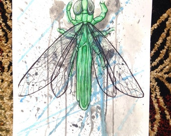 "11x17 PRINT of ""Tourmaline Dragonfly"" painting"