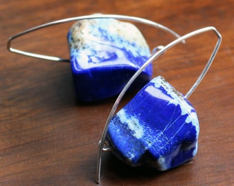 Lapis Lazuli Nuggets with Pyrite on Silver