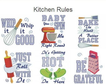 Kitchen Rules Machine Embroidery Designs Pack Instant Download 4x4 5x5 6x6 hoop 10 designs APE2262