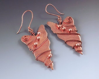 CLEARANCE- One of a Kind Copper Wire Wrapped and Beaded Leaf Earrings