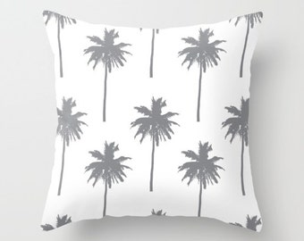 Palm Tree Pillow with insert - Palm Tree Throw Pillow with insert - Grey and White Nautical Pillow with insert - Summer Decor -