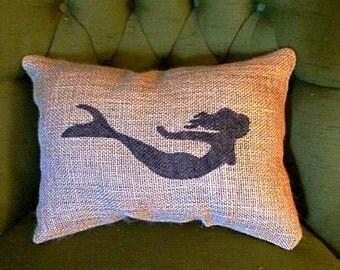 Mermaid Burlap Pillow