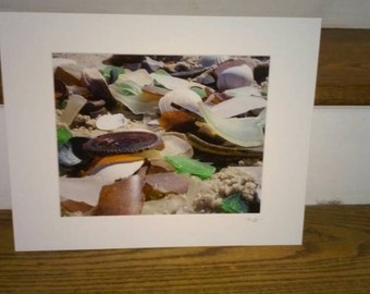 Sea glass at Sandy Hook (8x10) photograph attached to an 11x14 matte