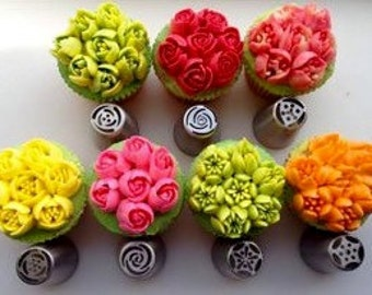 US Seller 7 XXL Pieces Russian European Piping Nozzle Tulip Rose Flower Icing Tips Cake Decorating Set