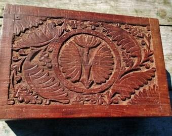 Vintage Carved Wood Jewelry Trinket Tobacco Box Ornate