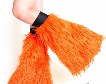 Orange Rave Fluffie, Orange Furry Leg Warmer, Orange Fur Boot Cover, Rave Boot Cover, Faux Fur, Fluffy