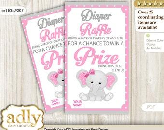 Girl Elephant Diaper Raffle Tickets Printable for Baby Girl Shower DIY – Polka -oz110bsPG7