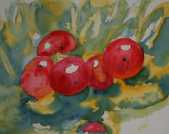 Red Apples,  An Original Watercolour Painting,  Impressionist, Loose Watercolour, Fruit, Large Painting  Ready to Frame, 16 x 12 Inches