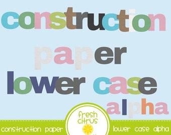 School Clip Art Construction Paper Alphabet Classroom A-Z Lower Case Alpha Clip Art