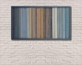 Reclaimed Wood Wall Art , wood wall art, rustic, modern, -- Blue Fade