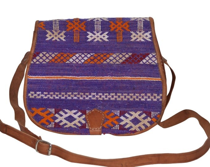 Woven Nomad Design Vintage Estate Tan Leather Clutch Handbag