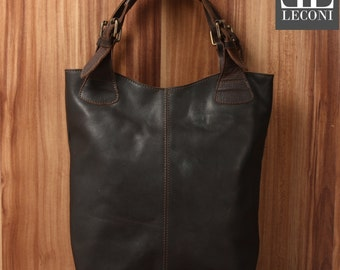 LECONI-LAN bag of shopper bag leather bag lady bag soft leather vintage look dark brown LE0033-wax