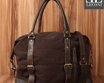 LECONI small Weekender shoppers-LAN bag ladies mens leather of canvas Mocha LE2006-C