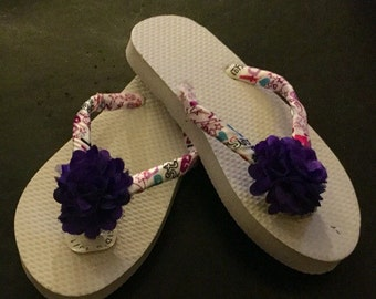 Purple Allstar Girls Ribbon Wrapped Flip Flops Small Size 11/12. Allstar Ribbon/Purple Flowers/Princess Flat Flip Flops