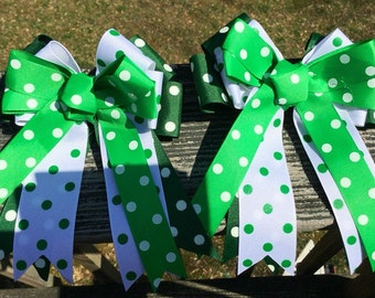 Horse Show Bows, Equestrian Bows, Competition Horse Bows. Green & White Show Bows. Equestrian Show Bows. Set Of Two Show Bows