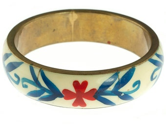 Brass and Enamel Floral Bangle