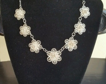 Lovely Silvertone Filigree Flower Necklace