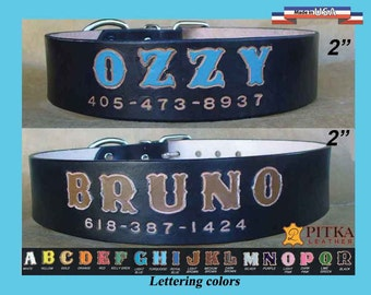 Custom made Big Dog Collar - Leather Dog Collar 2 inch wide - Black Leather Dog Collar - Unique Personalized  Dog Collars  - made in USA