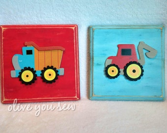 dump truck and tractor wall art