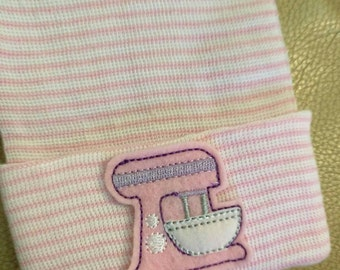 Newborn Baker Hospital Hat.  Newborn Hospital Beanie. Great Gift for a Baker or Cook Baby Hat with Mixer!