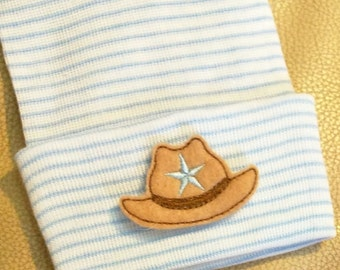 Newborn Hospital Hat Cowboy Hat! White and Blue Stripe Newborn Hat for Your Baby. Every Baby Should Have One.Perfect for Gender Reveal