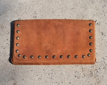 Brown Leather Wallet, Brown Essential Wallet For Her, Leather Clutch With Studs