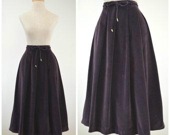 Plum of a Kind   Vintage 70s Purple Velvet A-Line Skirt   1970s Pleated Velveteen Skirt