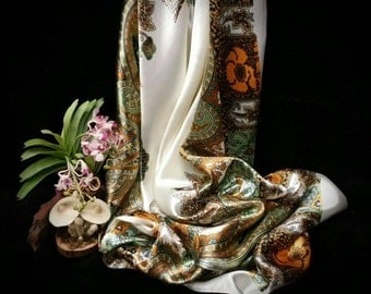 White & gold satin square scarf, large size gold retro paisley print silky square scarf, neckerchief bandana, gift for her under 15 dollars