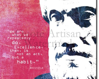"Aristotle Motivational Quote Poster ""We are what we repeatedly do..."" Original Art Print"