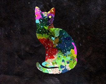 Cat Watercolour - Original Graphic Art Print - Photo Poster Gift