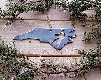 North Carolina Hiker Christmas Ornament NC Metal State Christmas Tree Decoration Holiday Gift Travel Keepsake Wedding Favor BE Creations