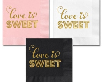 Metallic Gold LOVE IS SWEET Napkins (set of 25)