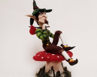 Large Needle Felted Green Male Elf with Toadstool. Fairytale Character. Fantasy Art Doll. Faery Folk. Free Worldwide Shipping.
