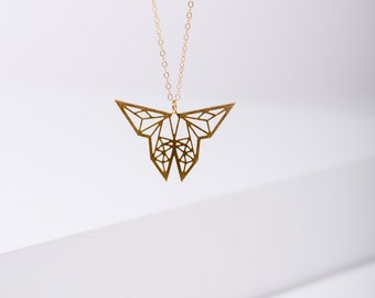 MIZYAN's geometric butterfly necklace, origami necklace, origami butterfly, geometric necklaces, gift for her