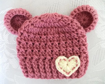 Baby girl bear hat Newborn bear hat Baby girl hat Newborn girl hat Baby hat with ears Baby girl beanie Crochet bear hat Crochet newborn hat