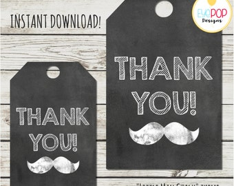 LITTLE MAN BIRTHDAY *Chalkboard *Favor Tags *Thank You *Mustache * Birthday * Party Decor *Digital Printable *Instant Download