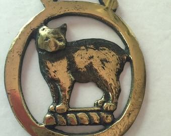 Vintage Round Manx Cat Horse Brass - Made in England