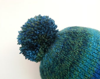 KINGFISHER - Roll-Brimmed Bobble Hat in Shades of Blue and Green