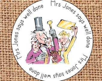 Personalised teacher reward stickers Well Done Personalized Roald Dahl BFG Matilda Charlie and The Chocolate Factory 1 design only