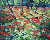 Oil painting Japanese garden Samurai's Blood Spider Lilly Original Artwork Home Decor Wall Decor Impressionism Landscape 38x45cm