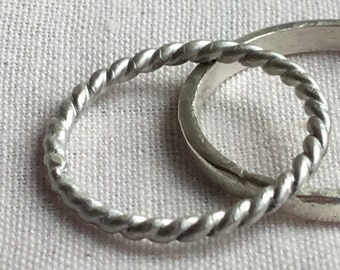 Twisted Stackable Sterling Silver Ring