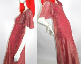 Vintage 1960s / 70s JOHN CHARLES of LONDON glitter maxi dress // Disco // Deco style