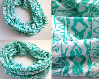 Teal and white geometric scarf - teal infinity scarf - summer scarf - lightweight scarf - women's scarf - teal and white scarf - geometric